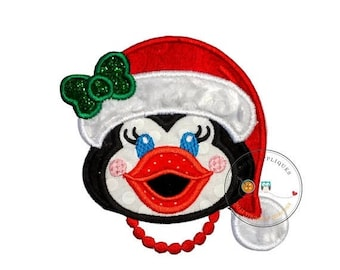 ON SALE NOW Cheerful Christmas girl penguin iron on fabric applique, Machine embroidered Christmas holiday no sew patch, easy Christmas outf
