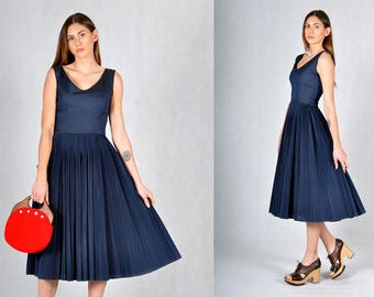 Jonathan Logan 50s Vintage Pleated Midi Dress