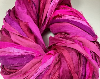 New Recycled Sari Silk Ribbon Pinks Purples Tassels Dreamcatcher Craft Ribbon Jewelry Eco Gift Wrap Garland Fair Trade Fiber Art Felt Supply