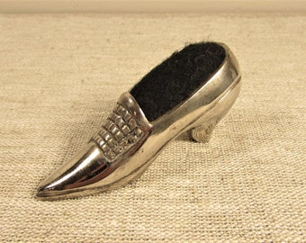Silver Tone Shoe Pin Cushion - Vintage Pointed Ladies Black