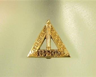 Beta Sigma Phi Lapel Pin - Vintage 12k Gold Triangle Torch Sorority