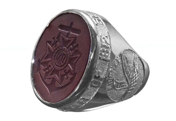 Custom family crest ring stone silver hand carved