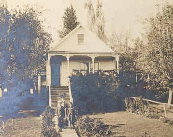 Sweet Victorian Era Sepia Photograph Postcard-Family in Front of Their Cottage