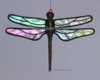 Iridescent Stained Glass Dragonfly Suncatcher, Northern Lights Clear Rainbow Glass, Hand-Cast Metal Body, USA Handmade, Iridescent Dragonfly