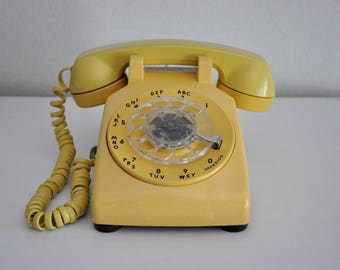 ON SALE Vintage Yellow Rotary Phone Working Telephone Bell System Western Electric