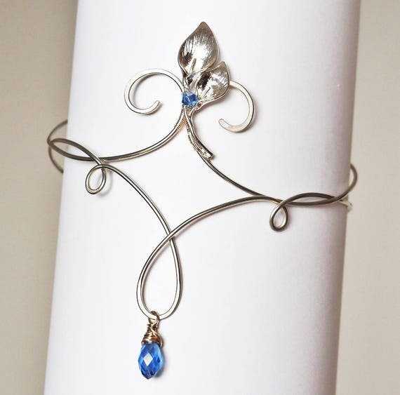 Delicate Upper arm bracelet cuff armband arm band armlet Dainty wire flower Lilies Silver Something blue Bridesmaid gift for women fairy