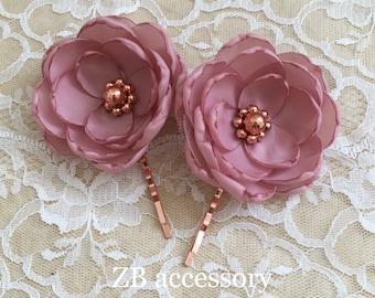 Dusky pink rose gold hair flower, bridal dress brooch sew on ornament, bridesmaid shoe clips, hair clip pin grip barrette handmade accessory