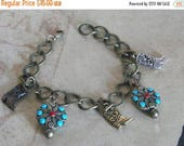 70% Off Jewelry Sale Cowgirls Charm Bracelet - Turquoise & Boot Charms - Western Jewelry