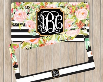 SALE Personalized Mongram License Plate And Frame Set ~ Black and White Stripes with Floral License Plate ~ Car Accessory Set