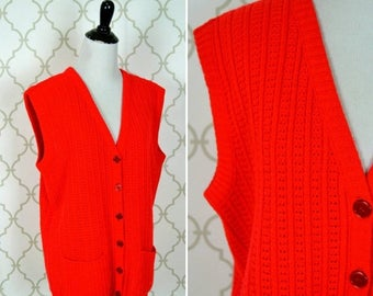 SUMMER SALE Vintage 1950's Red Cable Knit Sweater Vest - Button up knit - Ladies size large