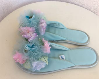 Vintage slip on slippers light blue floral accents bt Madye's Glamour Skuffs sz S 5.5-6.5