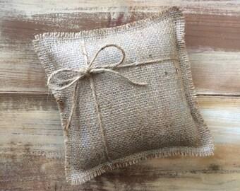 "8"" x 8"" Natural Burlap Ring Bearer Pillow w/ Jute Twine - Rustic/Country/Shabby Chic/Folk-Barn Wedding-Beach Wedding-Minimalist"