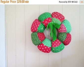 ON SALE Vintage Fabric Christmas Wreath // Retro Soft Padded Decorative Wreath Floral Pattern Red and Green Handmade Holiday Door or Wall De