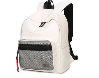 Basic Synthetic Leather Backpack with mesh pocket (White)