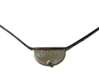 Silver Gold Disc Pendant Neklace ,  Silver Gold Disc Necklace , Mezzaluna Pendant , Artisan Handmade  by Sheri Beryl