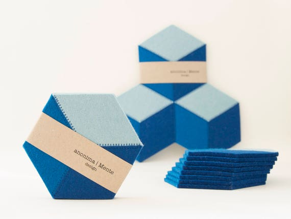 Set of blue and turquoise felt coasters / wool felt coasters / geometric coasters / stylish coasters / wool felt / handmade / made in Italy