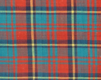 Madras Cotton Fabric / Red and Blue Madras Fabric / Madras Fabric / Summer Fabric / Cotton Fabric / Plaid Cotton Fabric
