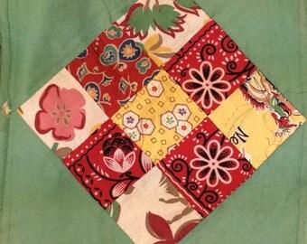 Feedsack Quilt Squares / Vintage Quilt Squares / 30 Handmade Nine Patch Quilt Squares / Homemade Quilt Squares / Feed Sack Fabric / Vintage