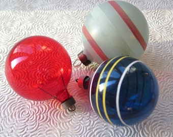 WWII Unsilvered Glass Ornaments Shiny Brite Style Red Blue Striped Set of Three 1940s Retro Christmas Tree Holiday Decor Rare Color