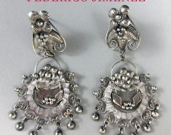 FEDERICO JIMENEZ~Delicate~925~Oaxaca Filigree Cascabel Dangle Earrings~Free Shipping!