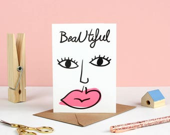 Beautiful Face Valentines Card
