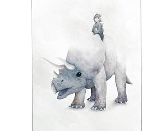 Triceratops Dinosaur Print A4