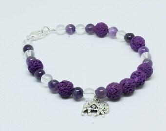 Diffuser Bracelet Essential Oil Bracelet Aromatherapy Purple Lava Beads  and Amethyst Gemstone Beads Clear Quartz Gemstone Beads Bracelet