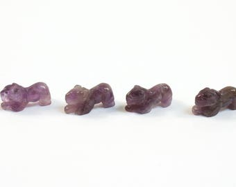 Amethyst Panther Beads Purple Stone Animal Beads Set of 4 with 1.3mm Hole