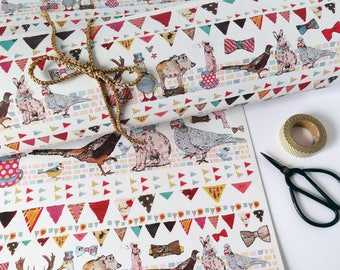 Gift Wrap, Quirky Eco Friendly Paper, British animals design, Recycled Wrapping Paper, Bowler hats & bow ties, British birds, Made in UK