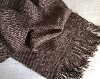 Twilling Scarf - Handwoven - Merino - Hot Chocolate
