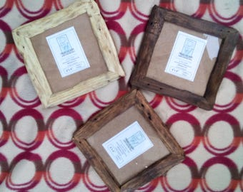 "Rustic/driftwood style frames in locally sourced, recycled old pine.Medium dark, very dark or clear beeswax finish.To fit 6""x6"""