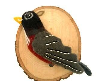 Head mounted trophy felted / perching bird