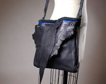 ON SALE Black Leather Bag - Crossbody Leather Bag - Royal Leather Bag - Leather Bag Purse - Small Leather Purse