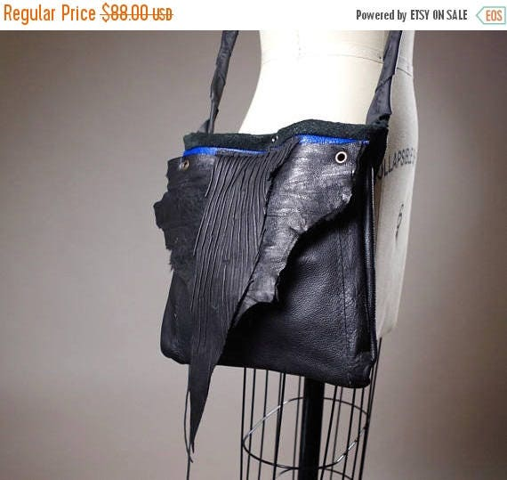 ON SALE Black Leather Bag - Crossbody Leather Bag - Royal Leather Bag - Leather Bag Purse - Small Leather Purse