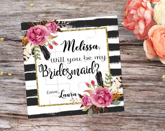 Bridesmaid Proposal Will You Be My Bridesmaid Puzzle Invitation Will You be My Flower Girl Proposal Gift Asking Flowergirl Invitation MOH
