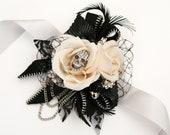 Skull wedding corsage, alternative, Prom,  wrist corsage, Vintage, retro, gothic, wedding flower, alternative wedding, skull, Any Colour