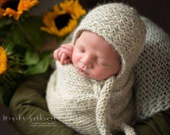 Herringbone Newborn Bonnet Hat and Wrap, Newborn blanket and bonnet, Knits wrap, Knits bonnet, Newborn Stretch Wrap, Newborn Photo Prop