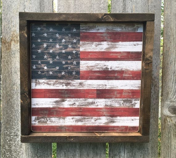 Americana Wall Decor Plaques Signs: Americana Decor Wood Sign Framed Wooden American Flag Sign