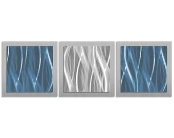 Modern Metal Wall Art 'Blue & Silver Essence' - 38x12 in. - Contemporary Décor, Cool Tones Metal Artwork - Masculine Art - Blue Art