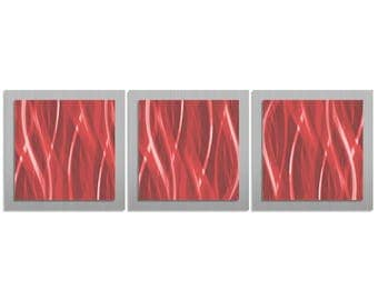 Cherry Red/Silver Abstract Art - 'Cherry Essence' - 38x12 in. - Warm Colored Metal Artwork - Modern Wall Art