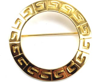 Givenchy Circle Brooch Bright Gold Plated Metal Logo Designer Signed Haute Couture Collectors Pin