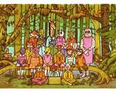 Woodland School Class Photo Limited Edition Linocut Print