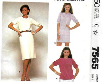 McCall's 7565 Make It Tonight Misses Dress Or Top Pattern, 6-10, 8-12 & 10-14, UNCUT