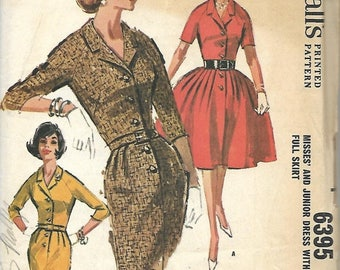ON SALE McCall's 6395 Misses Dress Pattern, Full Or Slim Skirt, Size 16, Bust 36