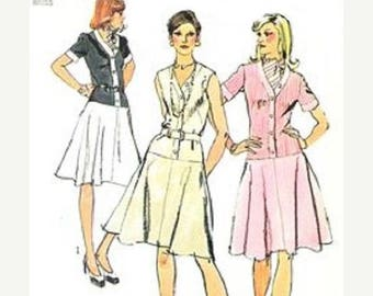 ON SALE Vntg Simplicity 6090 Misses One-piece Dress With V Neckline And Flared Skirt Sewing Pattern, Size 14, Bust 36, Uncut
