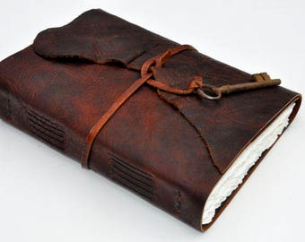 "GREAT GUY GIFT Handmade Leather Journal 10 1/2"" x 7 1/2"" - 140 lb watercolor paper - Sketchbook  Bison leather"
