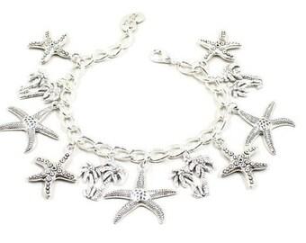 Palm Tree Bracelet Starfish Jewelry Starfish Bracelet Beach Jewelry Beach Bracelet Florida California Love the Beach Gift Sand Dollar B210