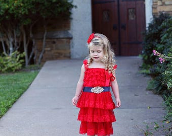 Red Blue White Flower Girl Dress, 4th of July Dress, Red Lace Dress, Nautical Lace Flower Girl Dress,  Red Blue Dress
