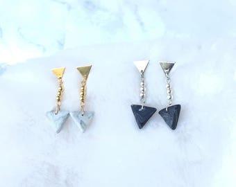Polymer Clay Earrings/ Marble Triangle/ Dangle Earrings/ Drop Earrings/ Fashion Earrings/ Triangle Earrings/ Handmade Earrings