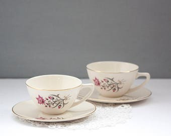2 Coffee or Tea Cups with Saucer, Creamy White with Gold Trim